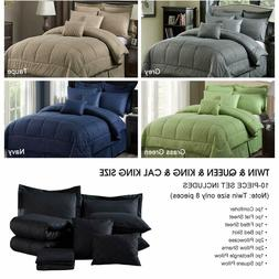 10 Piece Bedding Comforter Sets W/ Shams Luxury Solid Color