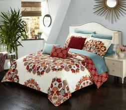 10 Piece Comforter Set Vintage Geometric Pattern Bedding Que
