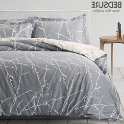 Bedsure 100% Cotton Duvet Cover Set Grey Reversible Comforte