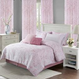 100% Cotton Pink Floral 4 pcs King Queen Comforter or Pillow