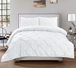 3 Piece Luxurious Pinch Pleat Decorative Pintuck Comforter S