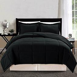 3 piece Luxury BLACK Goose Down Alternative Comforter Set, Q