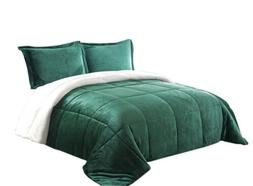 Chezmoi Collection 3-Piece Green Micro-mink Sherpa Down Alte