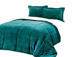 Chezmoi Collection 3-Piece Teal Micro-mink Sherpa Down Alter