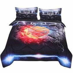 3D Basketball fire Print Comforter Sets Twin Size for Kids T