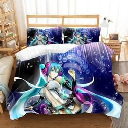 3D Print Cute Hatsune Miku Bedding Set Cartoon Beauty Prince