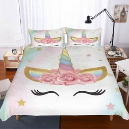 3D Unicorn Bedding Set Duvet Cover Comforter Cover Pillow Ca