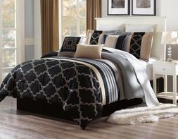 3PC ALEX #2 BLACK TAUPE GREY PATTERN Embroidered DUVET COMFO