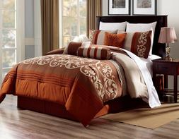 3PC ALEX #8 RUST BROWN BEIGE WESTERN Embroidered DUVET COMFO