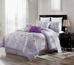 3PC DUVET BED COMFORTER COVER SET LILAC PURPLE EMBROIDERY FL