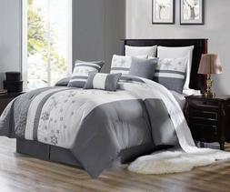 3PC DUVET BED COMFORTER COVER SET SILVER GREY WHITE EMBROIDE