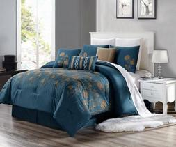 3PC DUVET BED COMFORTER COVER SET TEAL BLUE TAUPE EMBROIDERY FLOWERS BRENDA#8