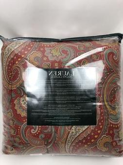 Ralph Lauren 3PC Full/Queen Comforter Set Red Multi-color Pa