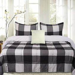 Sweet Home Collection 4 Piece Buffalo Check Comforter Set Bl