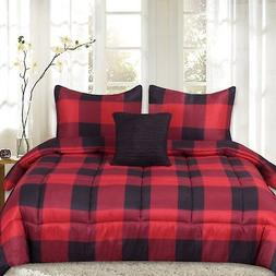 4 piece buffalo check comforter set red