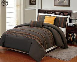 5 pcs Comforter Set King Queen & Full Brown Marigold Orange