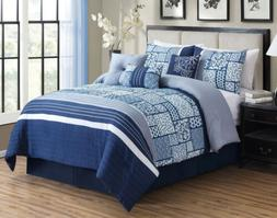 7 PC Blue White Comforter Set Queen Or Cal King Size AT Line