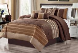 7 PC Brown Embroidery Comforter Set Queen Or King Size AT Li
