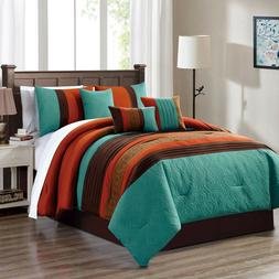 7 Pc Comforter Set Embossed Pattern Pleated Details - Burnt