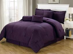 Chezmoi Collection 7-pc Hotel Solid Dobby Stripe Comforter S