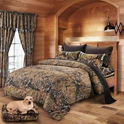 7 PC NATURAL QUEEN MIX COLOR CAMO BEDDING SET COMFORTER BLAC