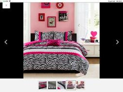 7 Pc Queen Hot Pink Black White Leopard Zebra Micro Fur Comf