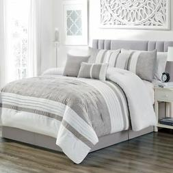 7 Piece Bailey Taupe/White Comforter Set