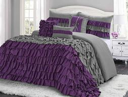 7 Piece BRISE Double Color Classic Ruffled Comforter Set-Que