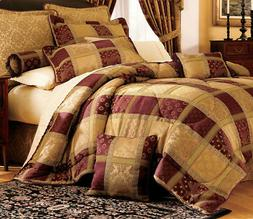 7 Piece Burgundy Jewel Patchwork Comforter Set