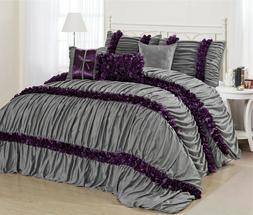 7 Piece Caralina Chic Ruched Pleated Ruffled Comforter Sets-