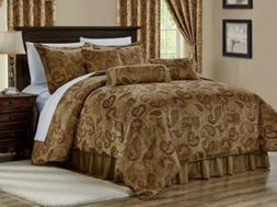 7-Piece Copper Brown Jacquard Woven Paisley Comforter Set or