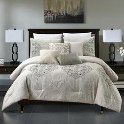 7 Piece Embroidery & Print Craft Gray Comforter Set-Colour B