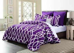 7-Piece Geometric Anbu Comforter Set All Sizes - Purple