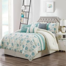 Chezmoi Collection 7-Piece Ivory Teal Floral Embroidered Com