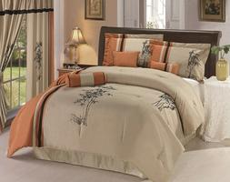 7-piece Kariya Embroidery Bamboo Comforter Set Full Rust/Lig