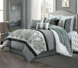 7 Piece Kazue Floral Embroidery Emboss Comforter Set Bed-In-