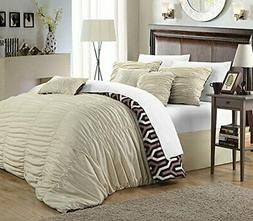 Chic Home 7 Piece Lessie Pleated Contemporary Comforter Set,