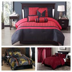 Chezmoi Collection 7-piece Luxury Jacquard Comforter Set Bla