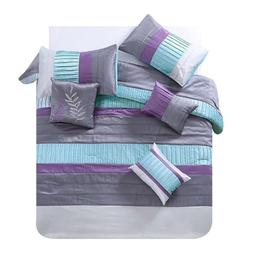 7 Piece Luxury Queen King Comforter Set Teal Purple Leaf Que