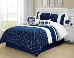 7 piece malibu wave embroidery comforter set