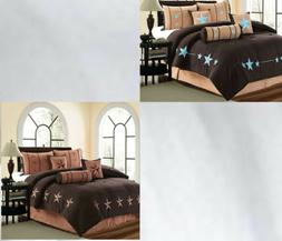 7 Piece Micro Suede Brown Comforter Set Queen Or King Size A