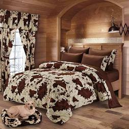 7 PIECE RODEO COW PRINT DESIGN COMFORTER SETS , 2 COLORS,  F