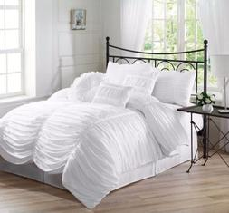 Chezmoi Collection 7-Piece Shabby Chic Ruched Ruffle Comfort