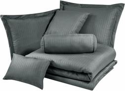 Chezmoi Collection 7-Piece Solid Gray Hotel Embossed Dobby S