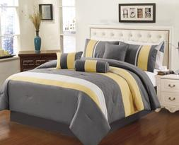 Chezmoi Collection 7-Piece Sunvale Yellow Grey White Comfort