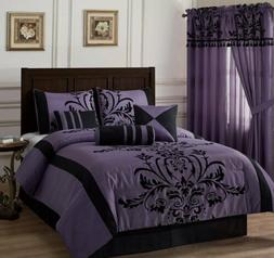 Chezmoi Collection 7-Piece Violet Black Flocked Floral Comfo