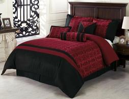 Chezmoi Collection 7pc Dynasty Jacquard Black/Red Comforter