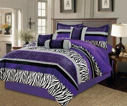 7PC Full Bright Purple Black White Zebra Leopard Micro Fur C
