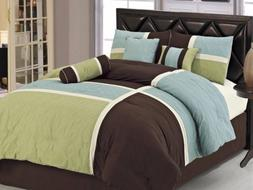 Chezmoi Collection 7pcs Brown Blue Green Quilted Patchwork C