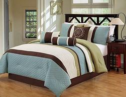 DCP 7Pcs Luxury Modern Stripe Comforter Bed-in-a-Bag Set Que